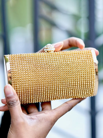 Vintage Glitter Leather Clutch Bag