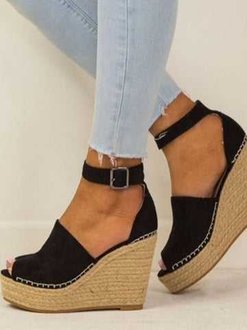 Fashion Summer Black Clip Toe Sandals