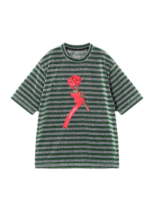 Stripe Collar T-Shirt With Flower Pattern
