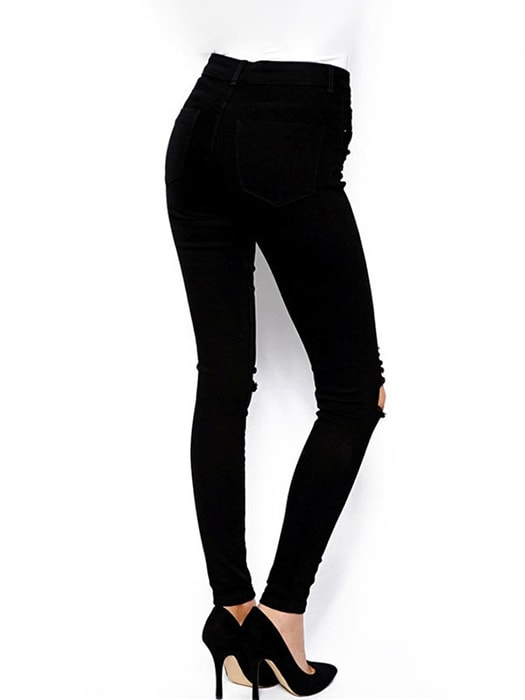 High Waist Shredded Rips Skinny Jeans