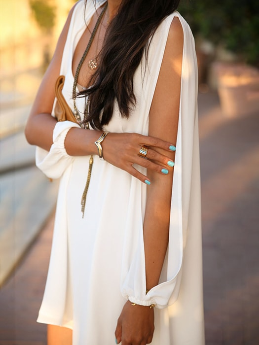 V Neck Side Split Mini Dress