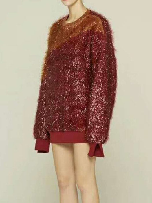 Spliced Crew Neck Fluffy Sweatshirt In Glamorous Red