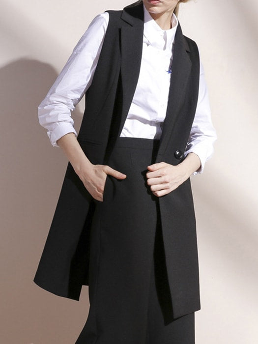 Non-sleeve Notched Lapel Single-breasted Coat