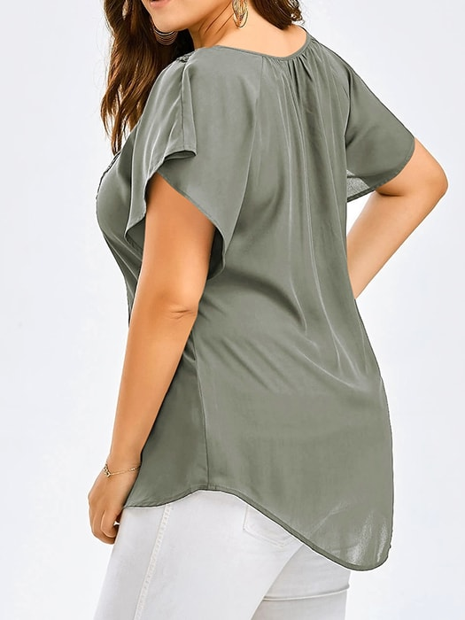 Batwing Sleeve Splicing Top With Tie