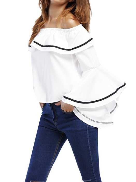 Boat Neck Ruffle Trumpet Sleeve Top