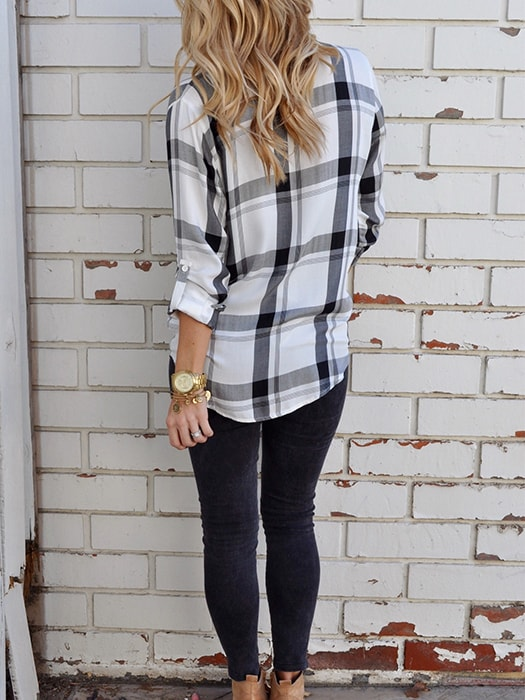 Basic Point Collar Checked Shirt