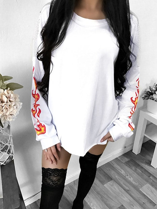 Burning Mesh Fishnet Oversize Sweatshirt