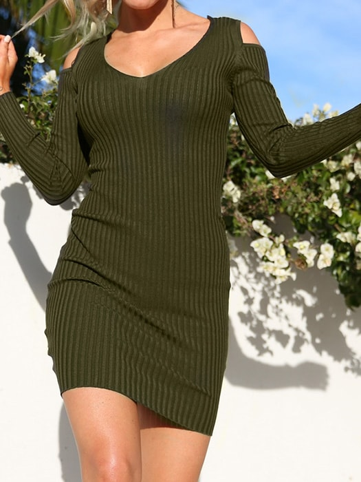 Cut Out Ribbed Dress - S / Green 31284NC-Green-S
