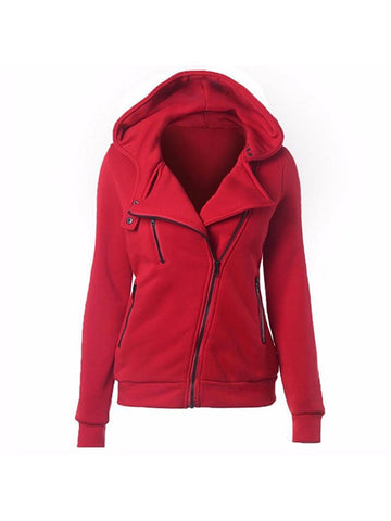 Loose Pure Color Pockets Design Fleece Hoodies Cardigan