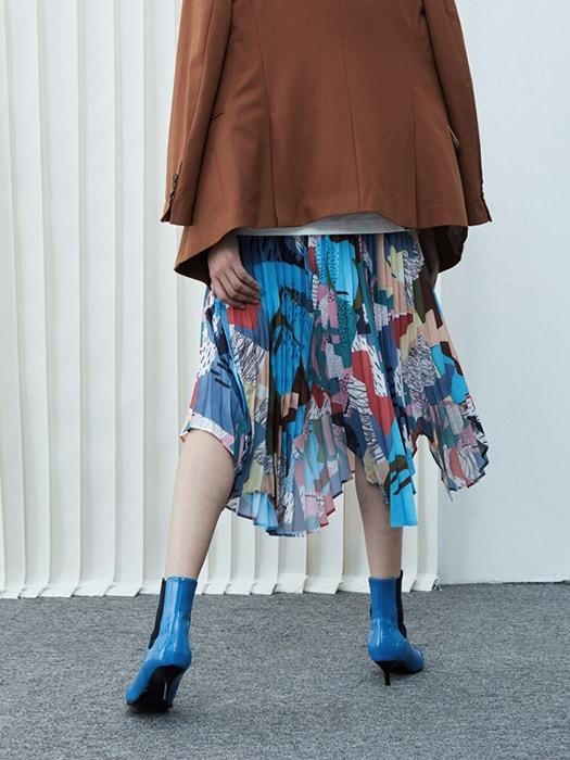 Asymmetric Graffiti Pleated Skirt