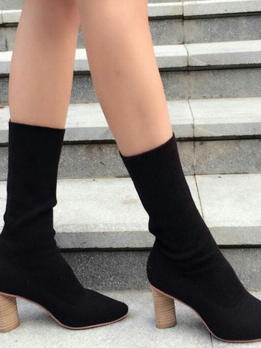 Ribbed Knit Sock Boots