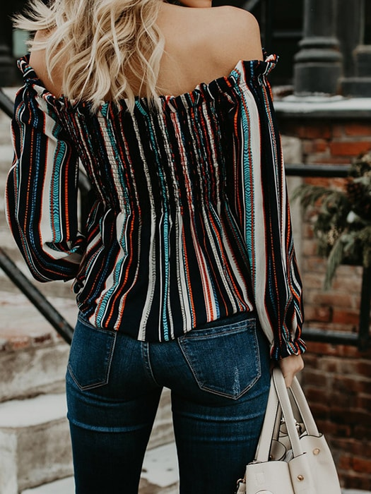 Color Stripe Strapless Shirred Top