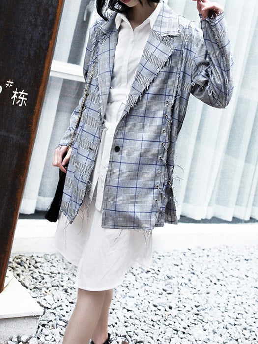 BF Style Long Sleeve Check Lapel Tassel Coat With Metal Ring