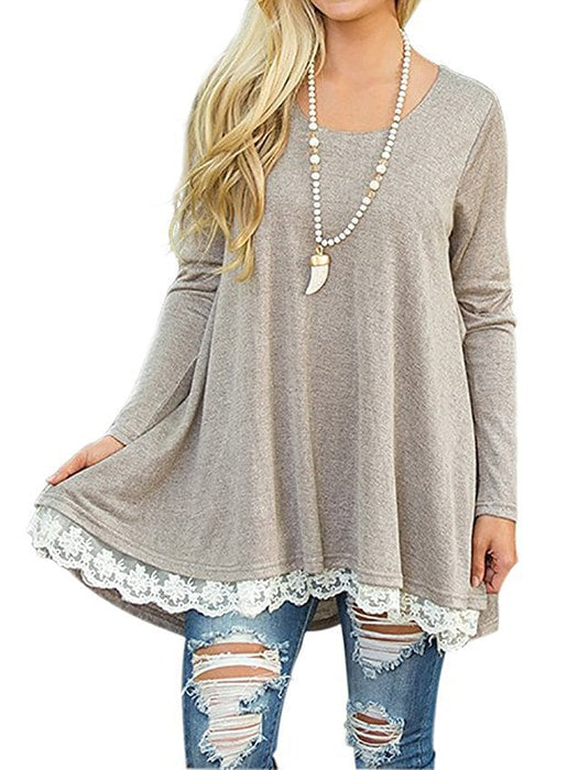 Long Sleeve Spliced Double Lace Hem Plus Dress