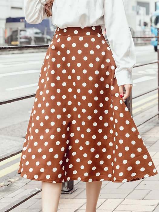 Dotted High Waist A-line Midi Dress