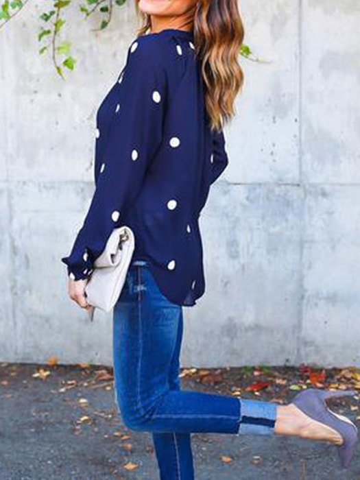 Curved Hem Chiffon Blouse In Dots