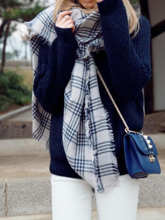 Checked Blanket Scarf In Faux Cashmere