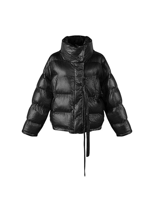 Roll Neck Metallic Padded Down Coat With Strap