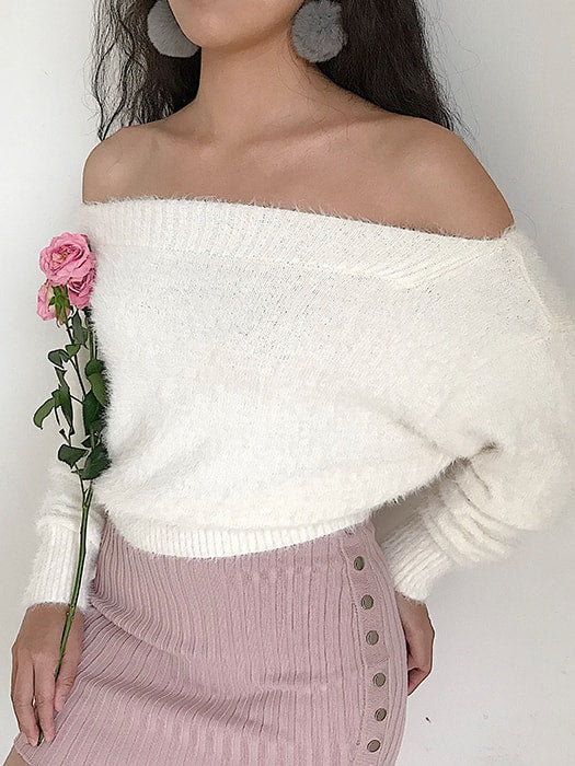 d121ba79b1 Fuzzy Knit Off-the-Shoulder Crop Sweater – WhatsMode