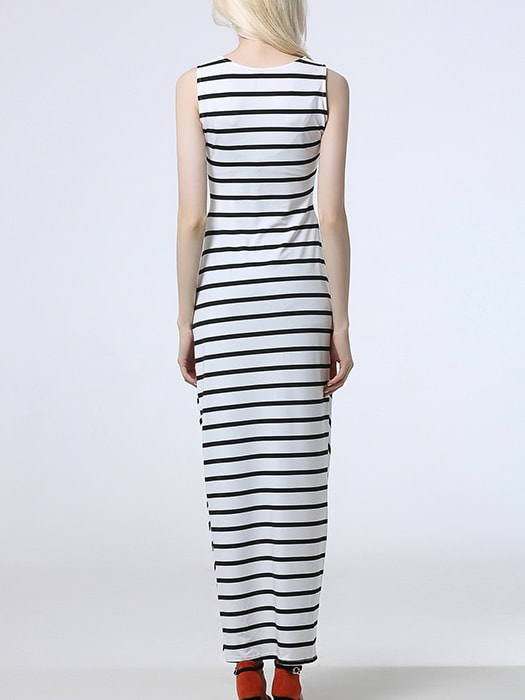 Asymmetry Hem Striped Long Dress