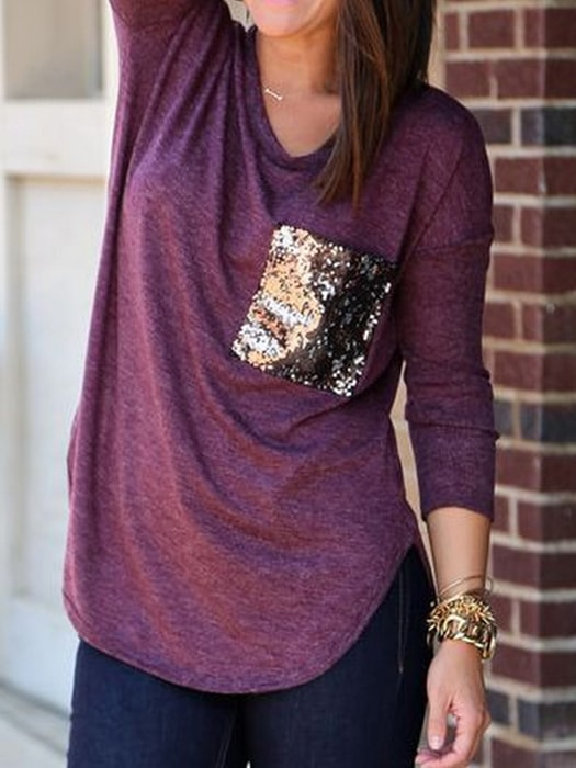 Spliced Sequined Curved Hem Top