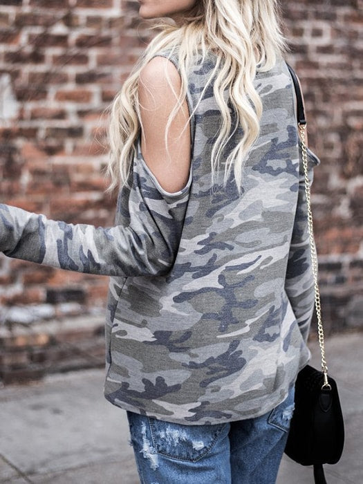 Cut Out Shoulder Camo Top