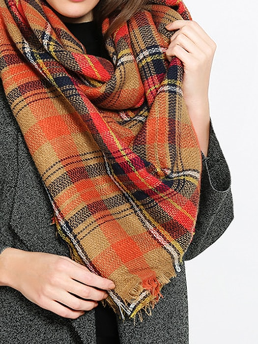 Tartan Distressed Hem Blanket Scarf