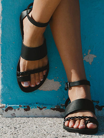 03595e642 Fashion Summer Black Clip Toe Sandals.  20.99 USD.  31.99 USD. Greek Style  Toe Ring Sandals