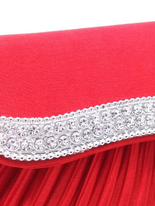 Pleated Faux Diamond Clutch Bag