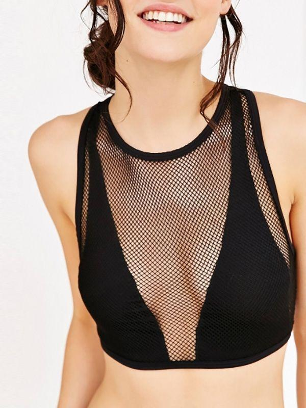 V Neck Hollow Out Front Crop Top
