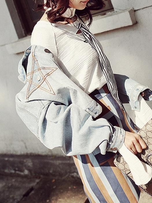 Denim Star Pattern Embroidered Jacket