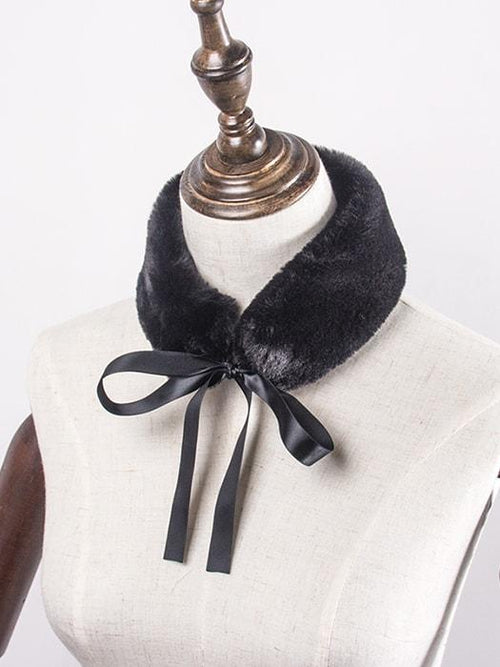 Fluffy Scarf with Ribbon Bowknot