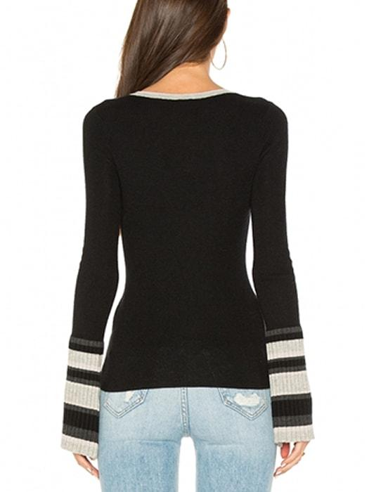 Court Sleeve Black And White Trumpet Sleeve Sweater