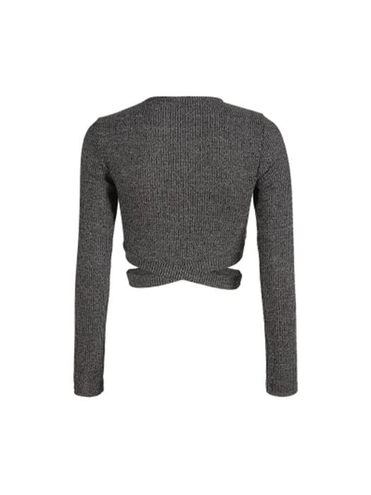 Long-sleeve Fine Knit Cropped Top
