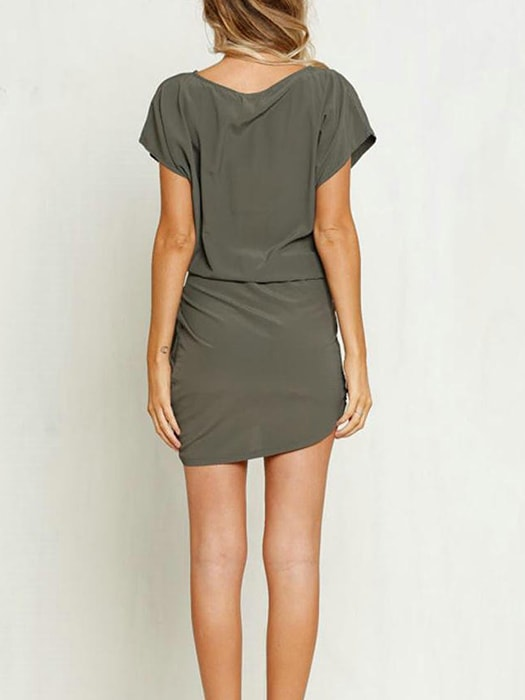 Asymmetry Hem Tie Dress With Nipped Waists
