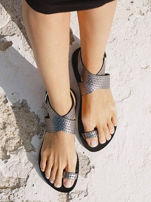 Cross Peep-toe Flat Sandal