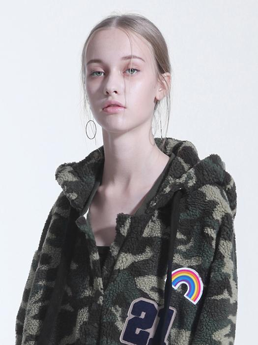 Chunky Camo Hoodie With Patch Details