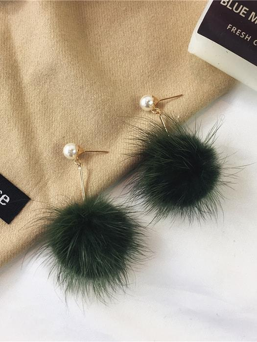 Pearl Studded Fluffy Ball Drop Earrings