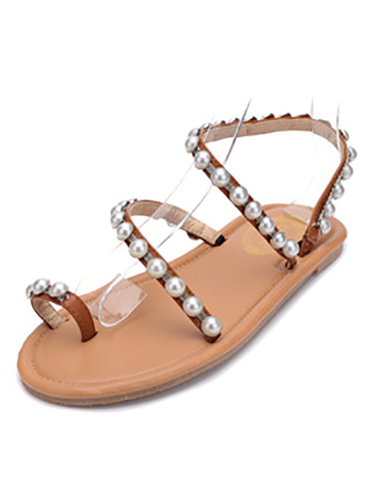 Simple Summer Holiday Pearl Flat Sandals