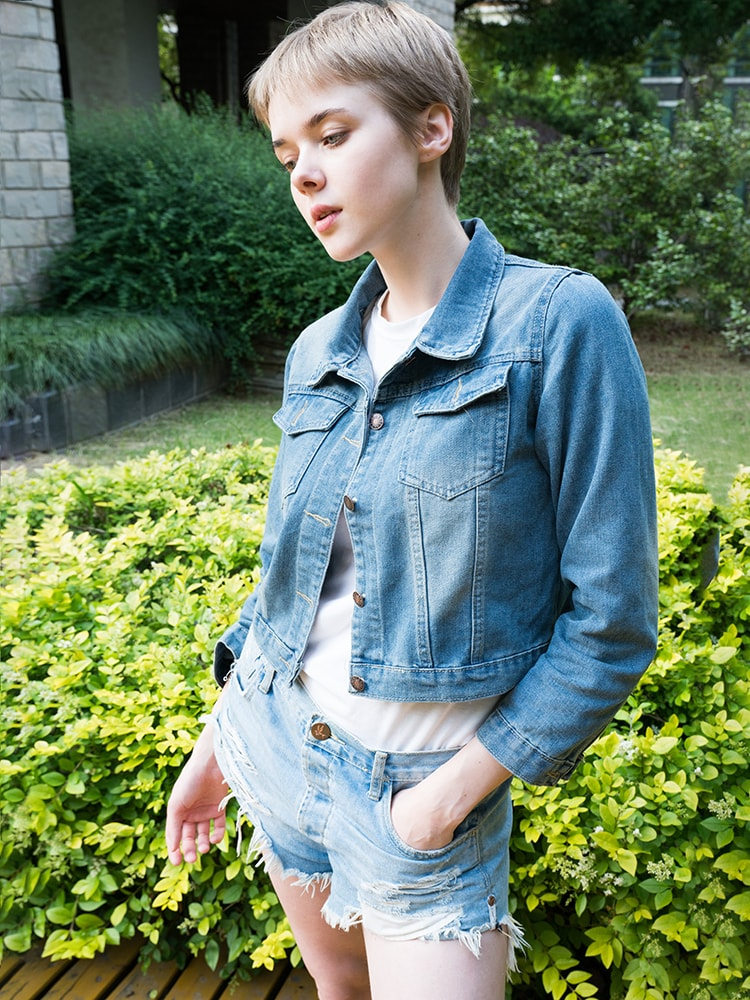 Denim Classical Point Collar Single-breasted Top
