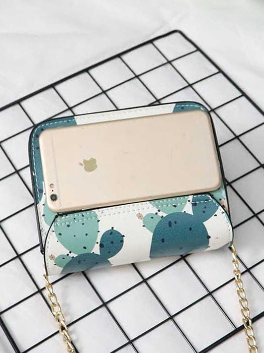 Floral Cactus Print Cross Body Bag