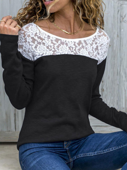 8f2b2850852023 Round Neck Lace Patchwork T-Shirts – WhatsMode