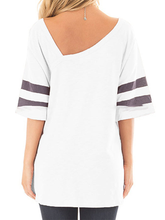 Solid V-neck Half Sleeve Striped Design Simple Basic T-shirts