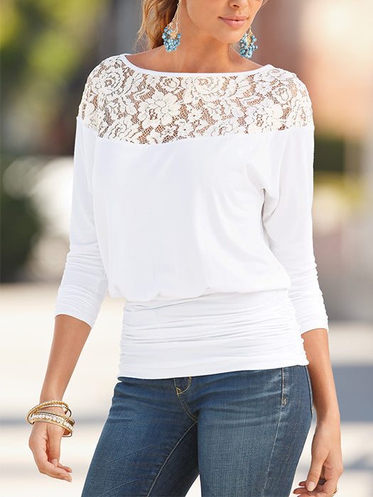 Round Neck Lace Patchwork Plain Long Sleeve T-Shirt Tops