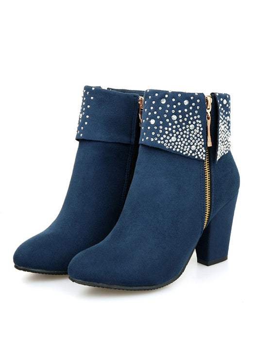 Women Bling Rhinestone Double Zipper Thick Heels Nubuck Leather Ankle Boots