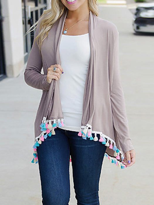 Casual Solid Long Sleeve Fringed Knitted Cardigan