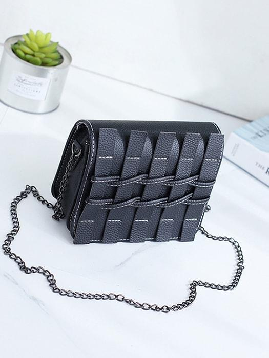 Woven Fold over Cross Body Chain Bag