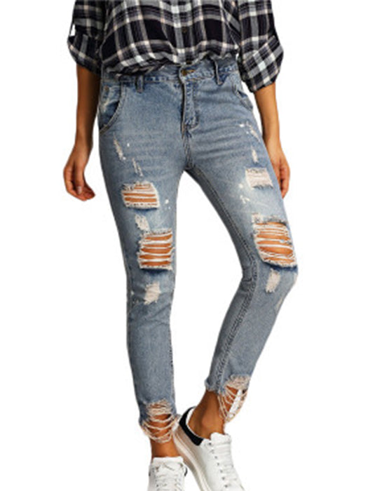 Fashion Women Distressed Machine Jeans
