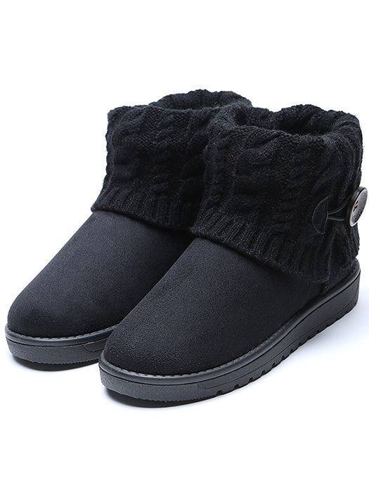 Snow Boots Warm Wool Ankle Boots Flat Shoes Plus Size