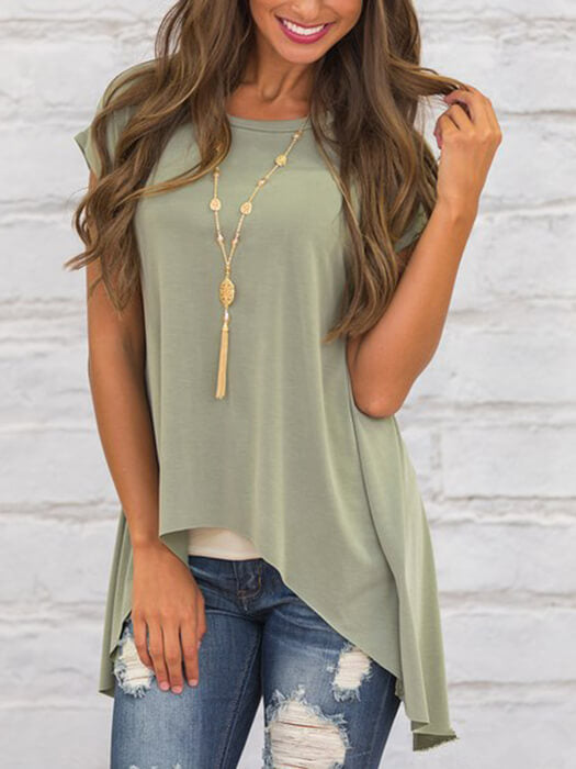 Back Split Short Sleeve Asymmetry Hem Top